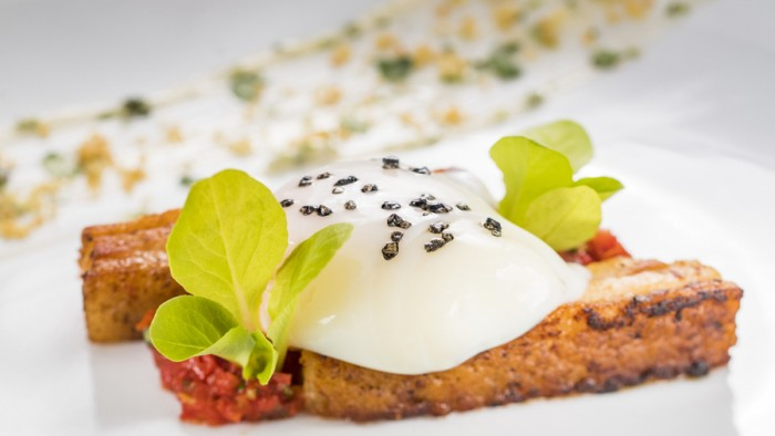 Deconstructed BLT with Crispy Pork Belly, Tomato Jam, and Soft Poached Egg ©Disney