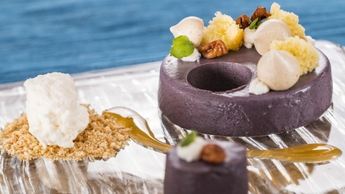 Deconstructed Purple Sweet Potato Pie, Salted Caramel, Bourbon-soaked Cake and Marshmallow Whipped Cream -- Decadent Delights Food Studio ©Disney