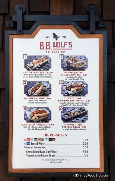 B.B. Wolf's Sausage Co. menu