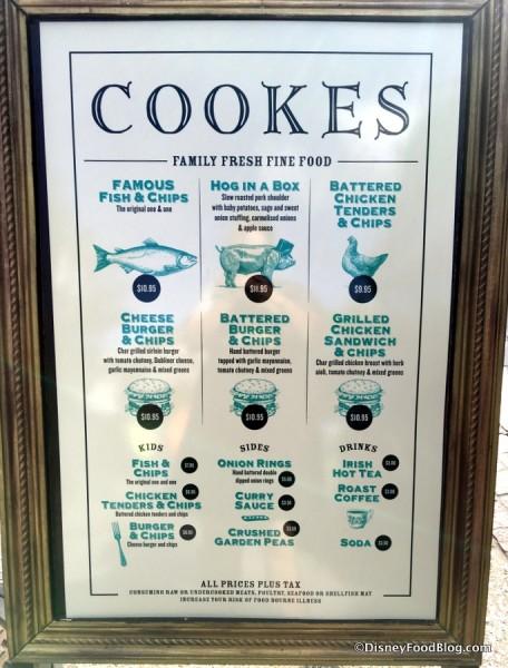 Cookes of Dublin Menu