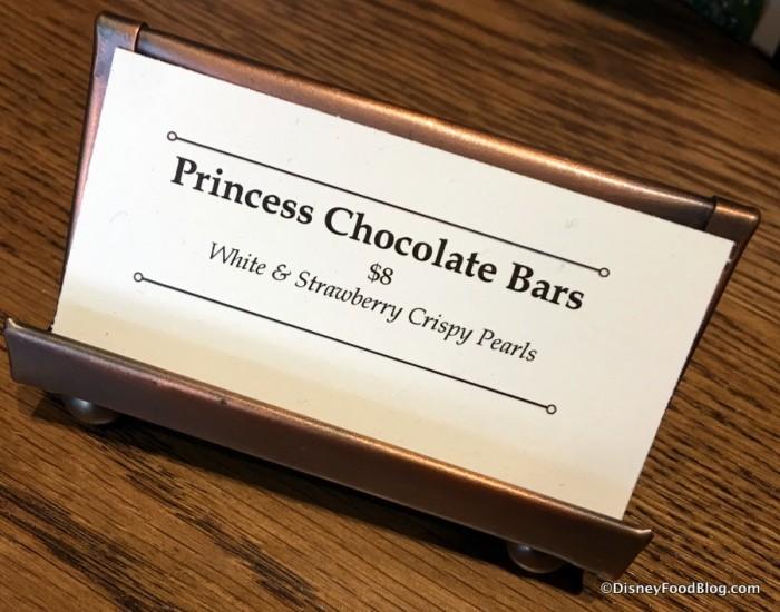 Princess Chocolate Bars sign