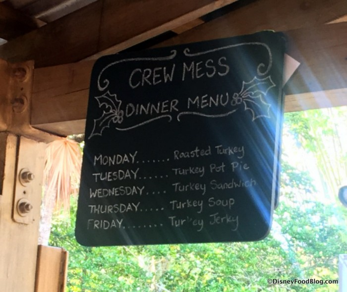 Seasonal Crew Mess Menu