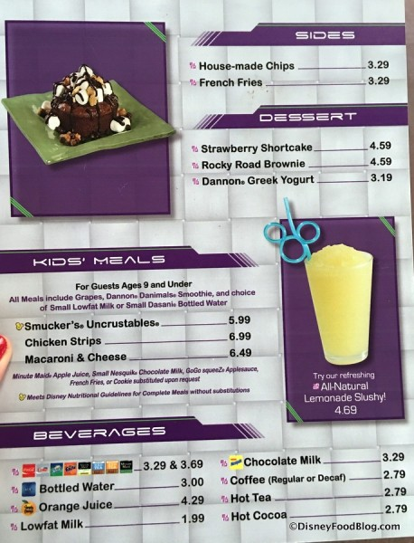 Sides, Dessert, and Kids' Menu