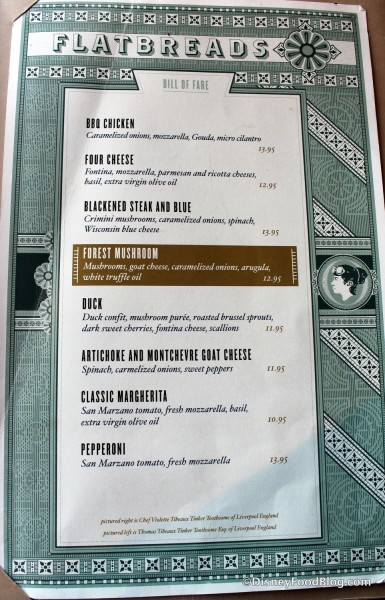 Flatbreads Menu