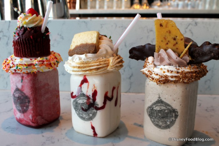 Red Velvet, Strawberry Cheesecake, and Bacon Brittle Milkshakes
