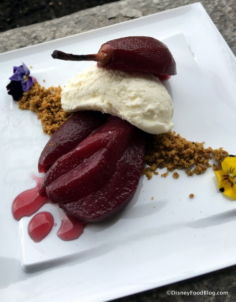 Port Wine Poached Pear, Vanilla Panna Cotta and Pistachio Crumbs