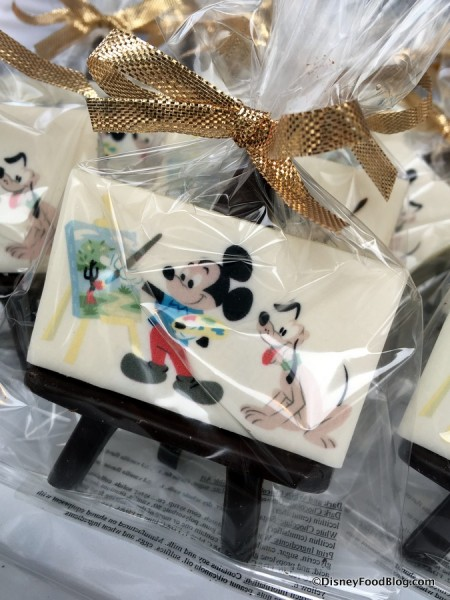 Mickey and Pluto White Chocolate Art Painting with Chocolate Easel
