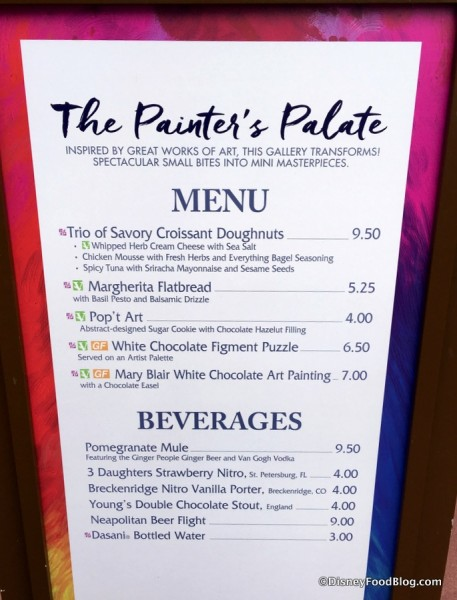 The Painter's Palate Menu