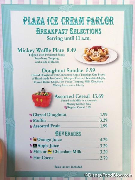 Plaza Ice Cream Parlor Breakfast Menu