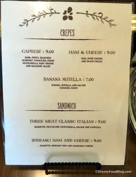 Crepes and Sandwich Menu