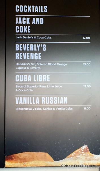 Beverly's Revenge Menu