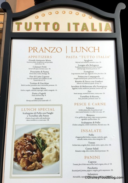 Tutto Italia Lunch Menu