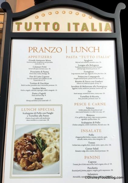 Tutto Italia Lunch Menu
