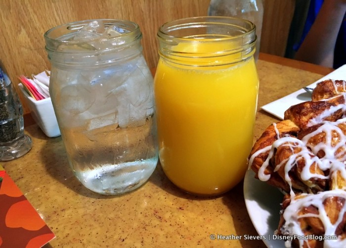 Beverages -- Water and Juice, Served in Jars