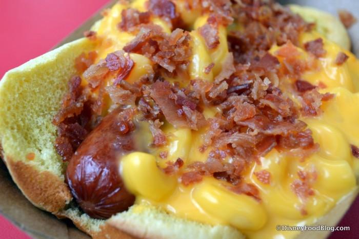 Mac and Cheese Dog Bacon Close-Up