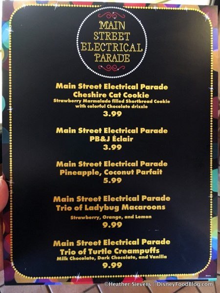 Main Street Electrical Parade Menu
