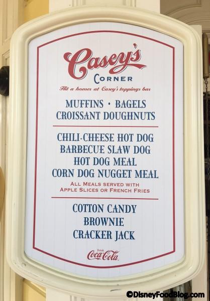 Updated menu at Casey's Corner