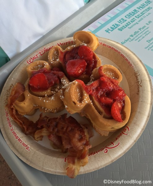 Mickey Waffles with Strawberries and a side of bacon