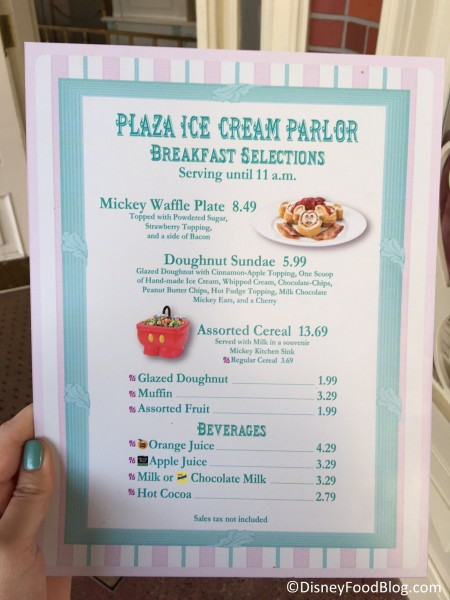 Updated menu at the Plaza Ice Cream Parlor
