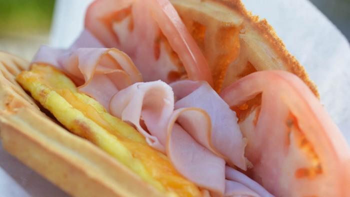 Egg, ham, and tomato waffle sandwich at Sleepy Hollow ©Disney