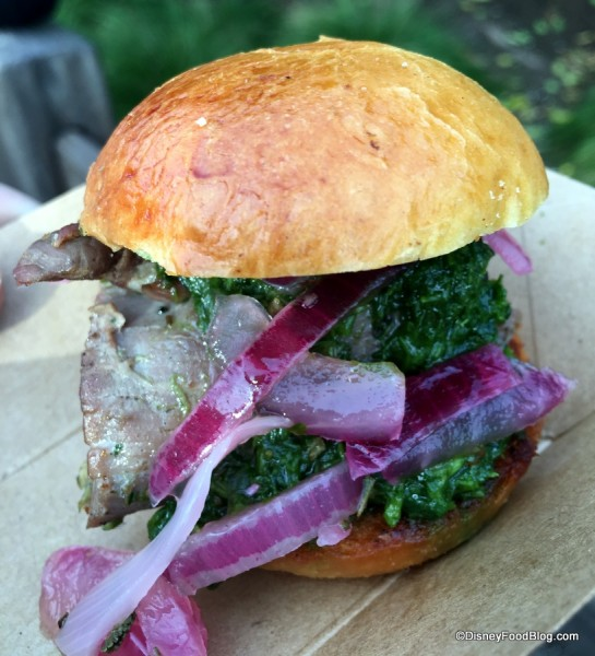 Grilled beef tenderloin slider with chimichurri sauce