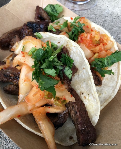Korean barbecue beef short rib tacos with Kimchi slaw
