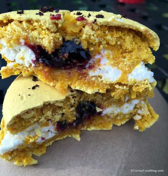 Meyer lemon macaron with blueberry marmalade, Meyer lemon cream and blueberry dust