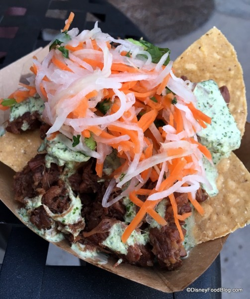 "Jackfruit carnitas banh mi nachos with cilantro crèma and ""pickled"" de gallo"