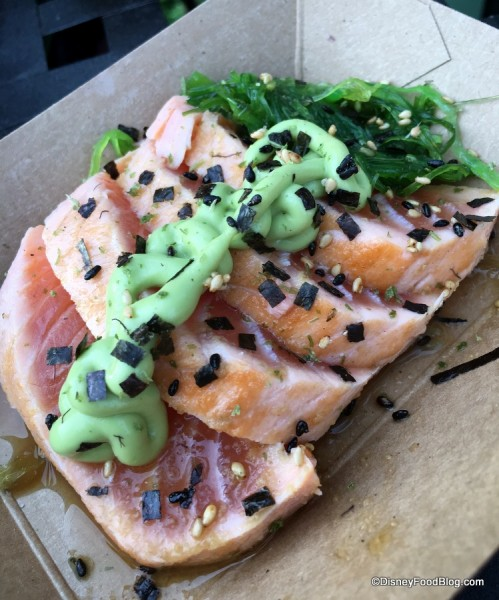 Verlasso® sustainable salmon tataki with avocado-wasabi puree and Furikake dust