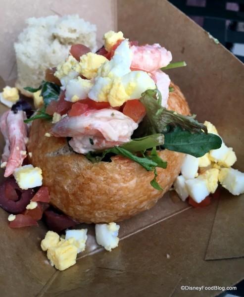 Bay shrimp Louie salad served in a mini Boudin sourdough boule