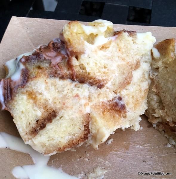 Milk chocolate sourdough bread pudding with vanilla bean sauce