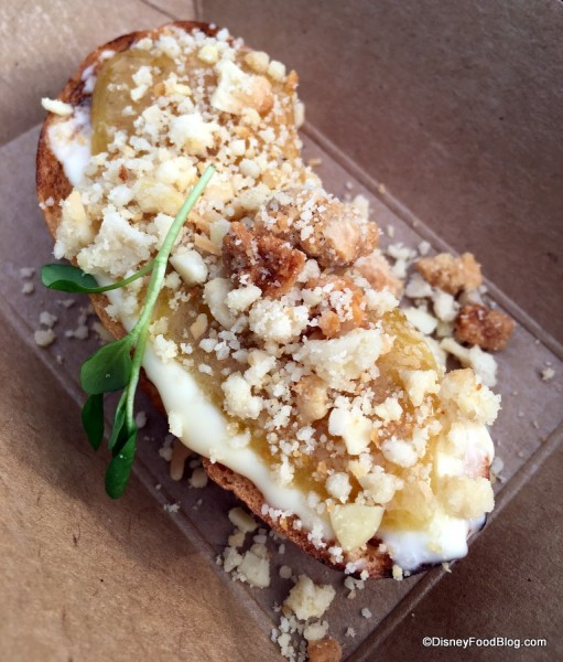Brie toast with fig and mint and roasted California almond crumble