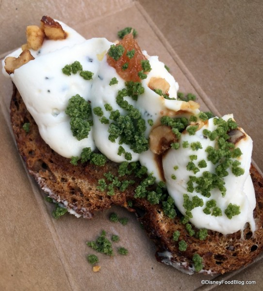 2017's Chèvre fromage blanc tartine infused with rosemary and honey, topped with toasted hazelnuts
