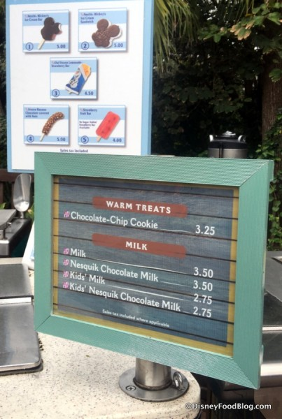 Ice Cream Cart Menu