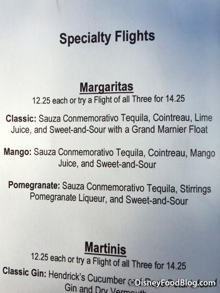 Brown Derby Lounge Margarita Flight Menu