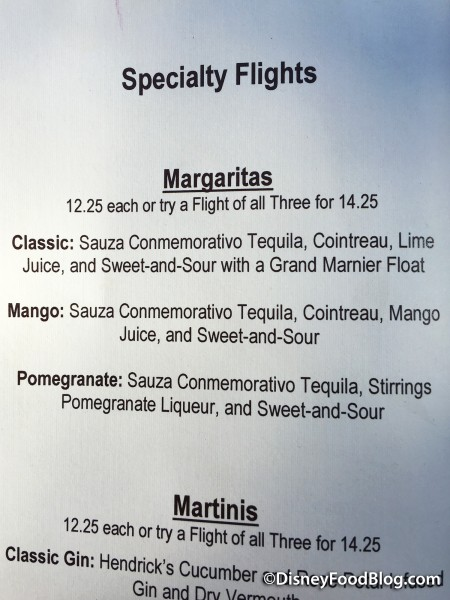 Brown Derby Lounge Margarita Flight Menu