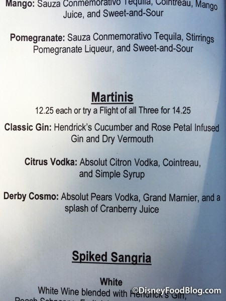 Brown Derby Lounge Martini Flight