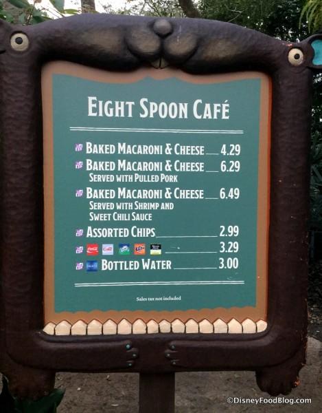 Eight Spoon Cafe Menu
