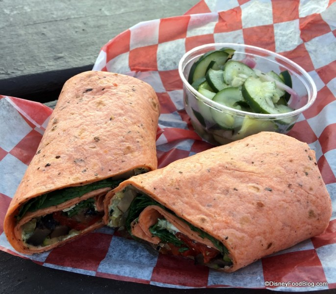 Roasted Portobello and Vegetable Wrap and Cucumber Salad