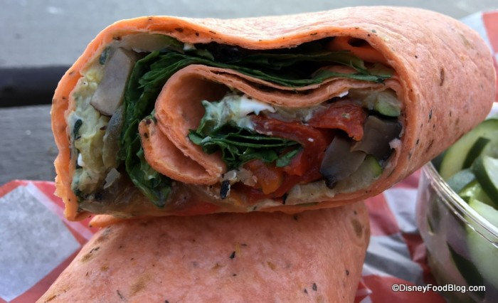 Cross-section of Roasted Portbello and Vegetable Wrap
