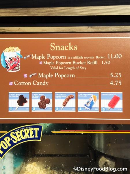 Frontierland Popcorn Cart Menu