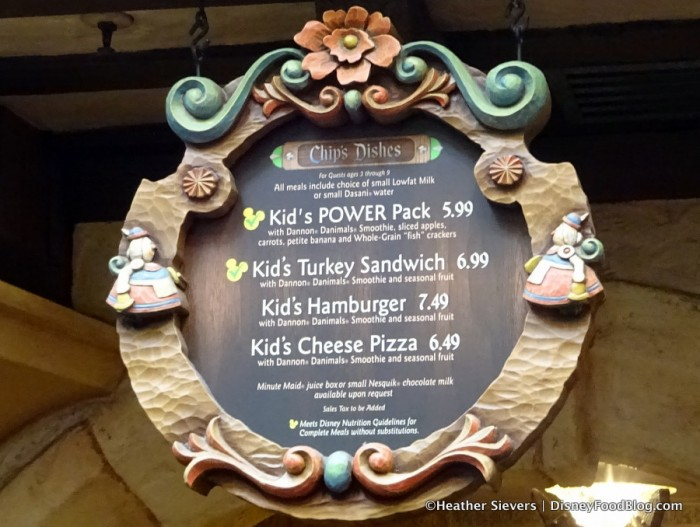 Kids Menu -- Chip's Dishes -- Click to Enlarge
