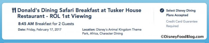 Screenshot from the Disney World website