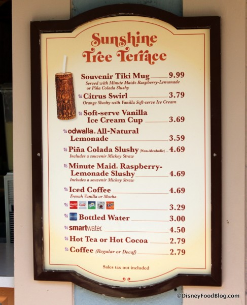 Sunshine Tree Terrace Menu