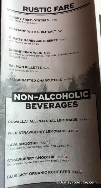 Rustic Fare and Non-Alcoholic Beverage Menu