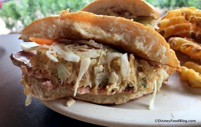Lump Crab Cake Sandwich cross-section