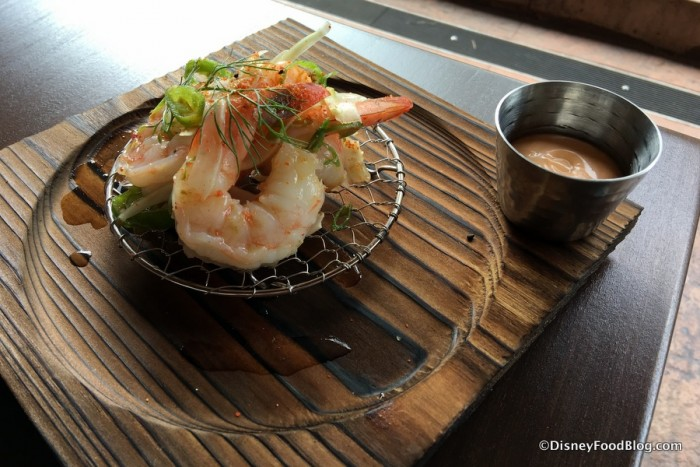 Shrimp on a Wire with miso lime vinaigrette