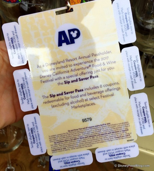 2017 Annual Passholder Sip and Savor Pass -- Back Details
