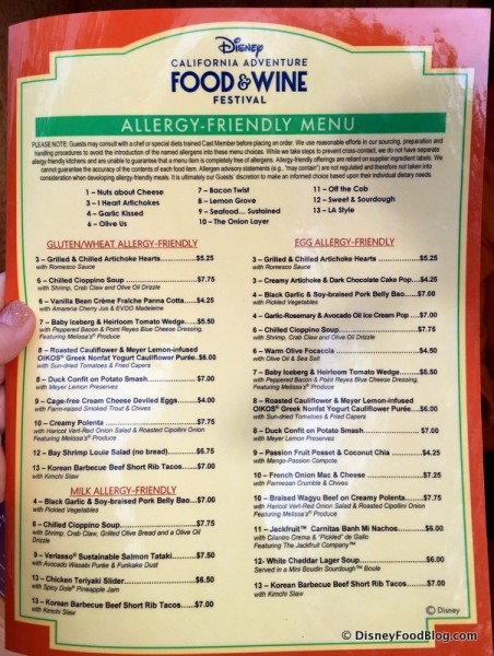 2017 Disney California Adventure Food and Wine Festival Allergy Friendly Menu