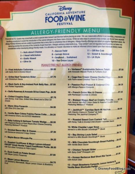 2017 Disney California Adventure Food and Wine Festival Allergy Friendly Menu
